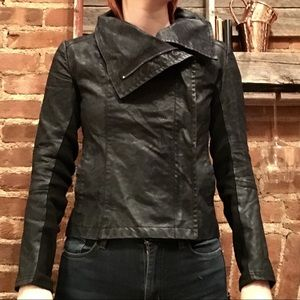 Divided by H&M Faux Leather Fold Collar Jacket